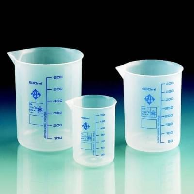 Kadička 50 ml, PP, priesvitná, modrá stupnica