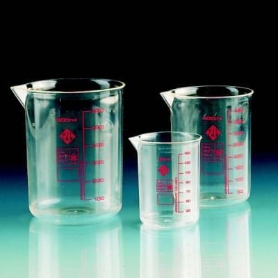 Kadička 250 ml, PMP, priehľadná, červená stupnica