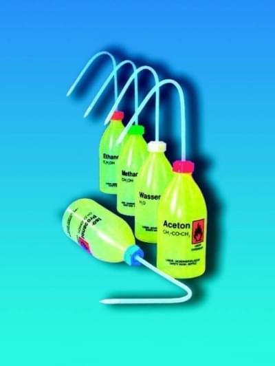 Střička bezpečnostní úzkohrdlá, LDPE, s potiskem, destil. voda, 1 000 ml