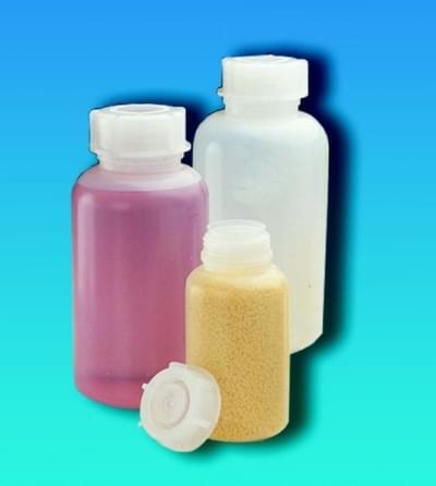 Fľaša širokohrdlá LDPE, guľatá, priehľadná, bez uzáveru, 100 ml
