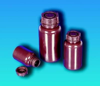 Fľaša širokohrdlá, LDPE, guľatá, hnedá, bez uzáveru, 100 ml
