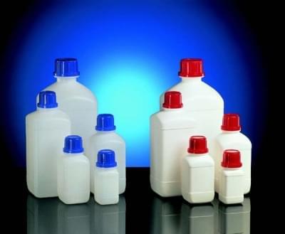 Fľaša reagenčná, úzkohrdlá HDPE, štvorhranná, biela, bez uzáveru, 100 ml