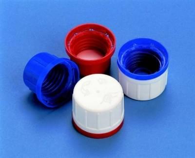 Uzáver skrutkovací PP, modrý, s kónickým tesnením a poistným krúžkom, pre 100 - 1 000 ml