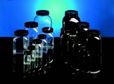 Fľaša širokohrdlá PVC, štvorhranná, číra, bez uzáveru, 50 ml