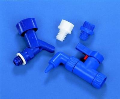 Kohútik pre fľašu skladovaciu HDP, adaptér pre PP uzáver, modrý