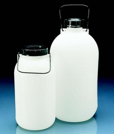 Fľaša skladovacia, HDPE, s tesnením, uzáverom a držadlom, úzkohrdlá, 5 l