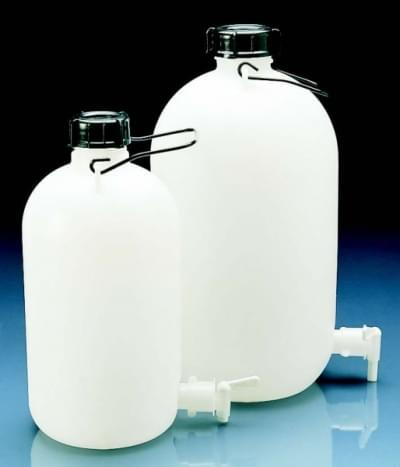 Fľaša skladovacia s výpustným kohútikom, HDPE, s držadlom, 5 l