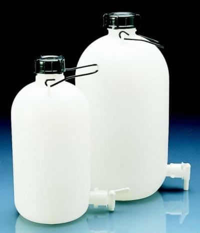 Fľaša skladovacia s výpustným kohútikom, HDPE, s držadlom, 10 l