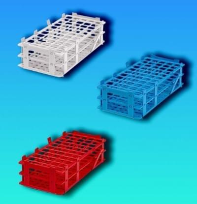 Stojan na skúmavky, PP, modrý, stohovateľný, 5 × 11 miest