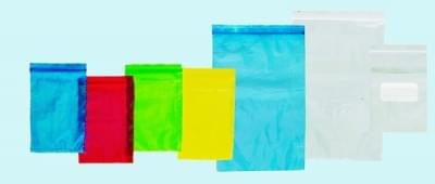 Sáček na vzorky se zipovým uzávěrem a kapsou, PE, modrý