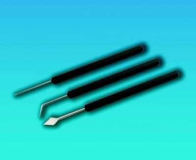 Ihla preparačná s plastovou rukoväťou, dĺžka 150 mm, zahnutá, pre priemery 1,0 mm