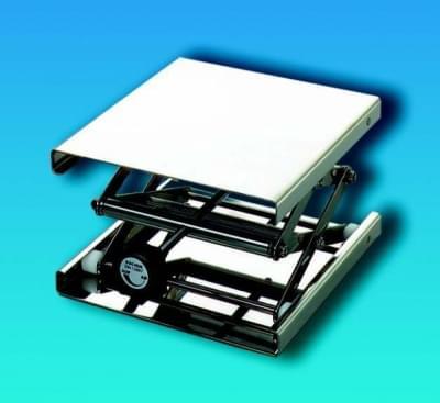 Zvedák laboratórny nerezový - nastaviteľný stojan, plošina 200 × 200 mm