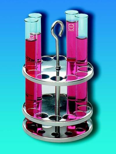 Stojan na skúmavky, guľatý, nerezový, pre skúmavky s priemerom do 20 mm, 12 miest