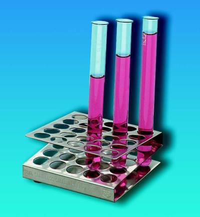 Stojan na skúmavky, štvorcový, nerezový, pre skúmavky s priemerom do 13 mm, 5 × 5 miest