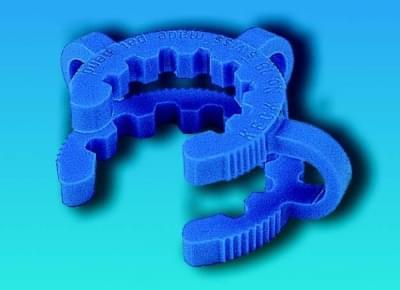 Klema - svorka na fixáciu kónických NZ zábrusov, pre zábrus 19/26 mm, modrá farba