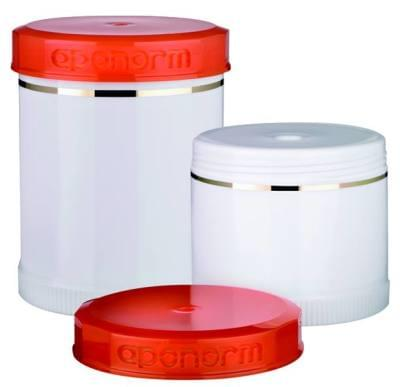 Kelímky pro Topitec, s výtlačným pístem, oranžovým víčkem a ozdobným pruhem