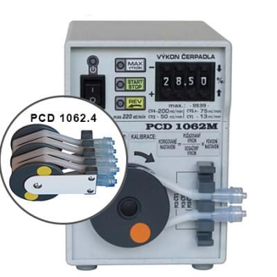 PCD1062.4 - Peristaltické čerpadlo čtyřhadičkové, Funkce REV, MAX, START/STOP
