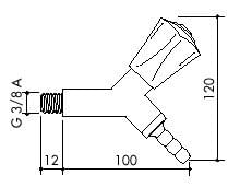 TOF 2000/3 - Laboratórny plynový kohút, hlavice 45°