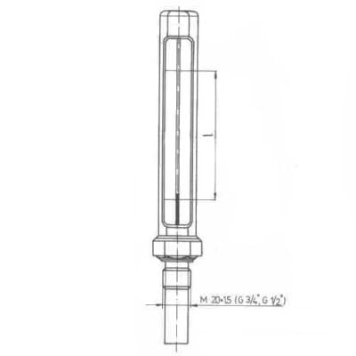 Teploměr kotlový - typ 160, přímý, bez pouzdra