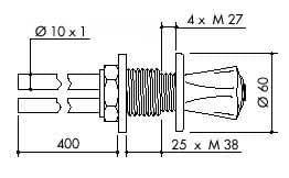 TOF 1000/131 - Laboratorní ovládací ventil, napojení na měděné trubice 10×1mm
