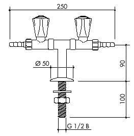TOF 1000/250 - Laboratorní stojánkový T ventil pro vodu, dvojitý přímý výtok