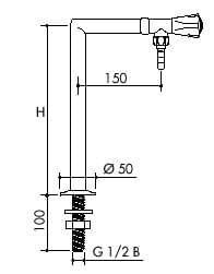 TOF-1000-355-Laboratorní stojánkový ventil pro vodu, výtok dolů - nákres