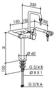TOF 1000/430 - Laboratórna páková batéria + 1 ventil pre vodu, výtoky dole