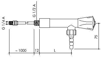 TOF 1000/610 - Laboratorní nástěnný ventil pro demi vodu s přivodní hadicí, výtok 90° - nákres