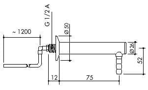 TOF 1000/656 - Laboratorní výtok pro demi vodu s přívodní hadicí, výtok 90°,l 75 mm