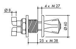 TOF 1000/671 - Laboratorní ovládací ventil pro demi vodu - nákres